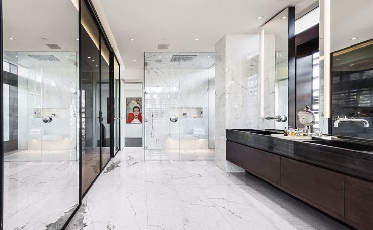 W38th Residence : Master Bathroom with walk in closet, steam shower and marble.