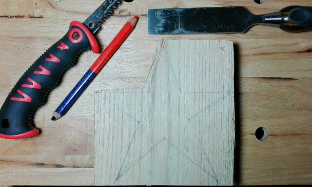Wood working, a chestnut star