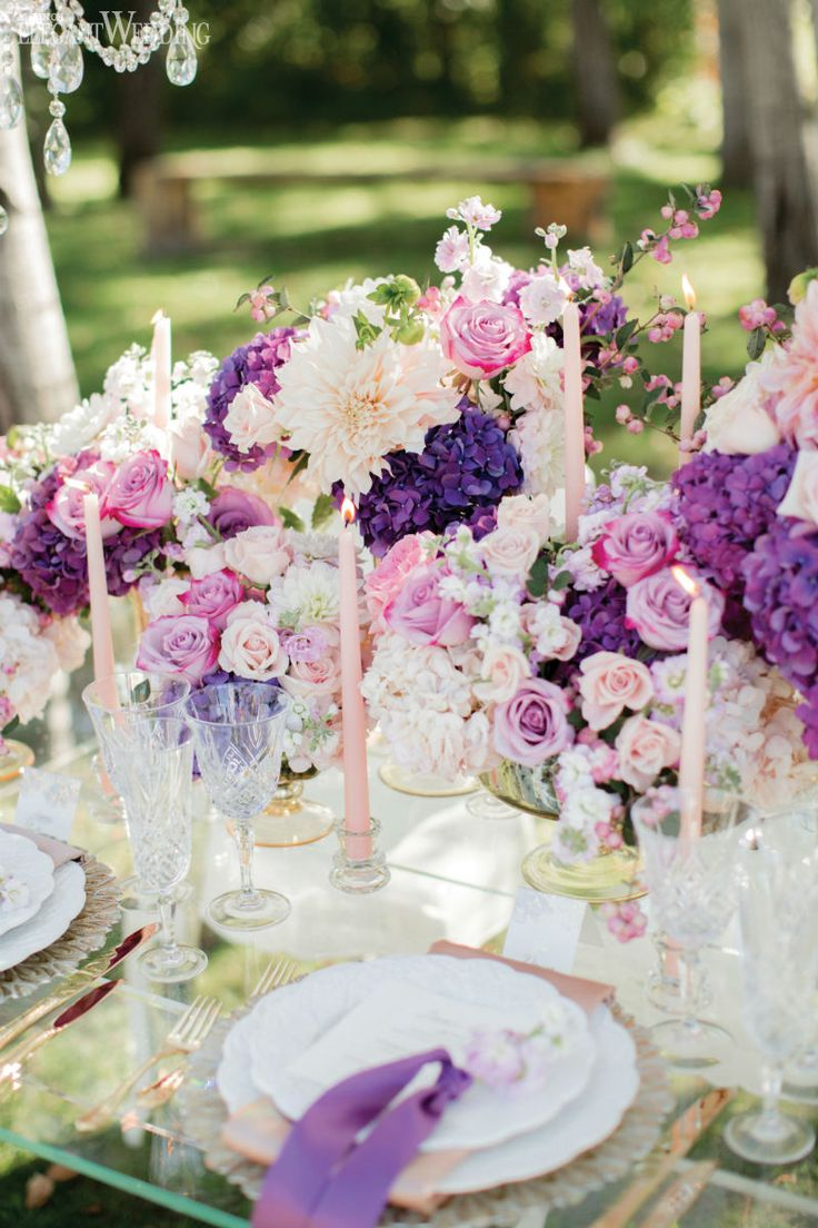 Fairytale Wedding Decor Table Setting Place With Purple Florals