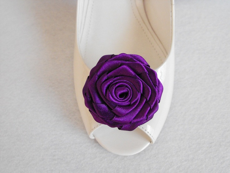 Handmade rose shoe clips in purple.