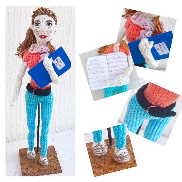 Unique personalised teacher's gift!! Special amigurumi doll!