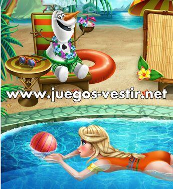 #ElsaFrozen quiere pasar una tarde de #verano con #Olaf en la piscina #juegosdevestir   #juegosdefrozen    http://www.juegos-vestir.net/jugar/elsa-en-la-piscina