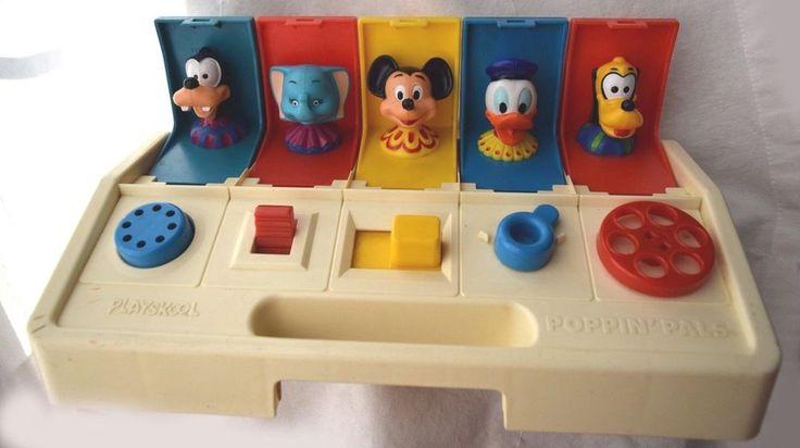 Vintage Poppin Pals Pop Up Toy Child Guidance Playskool Disney Characters Mickey #Playskool