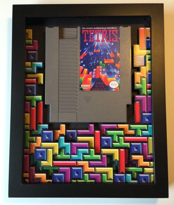Tetris 3D Shadow Box avec porte-cartouche Replica par GlitchArtwork