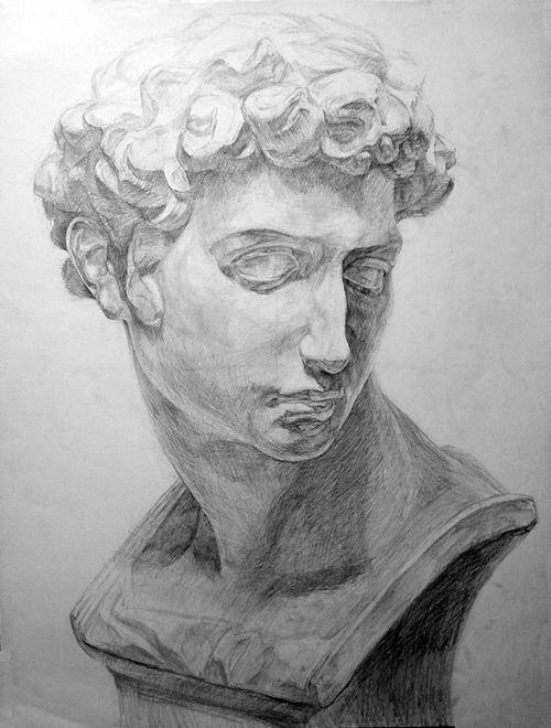 石膏像の鉛筆デッサン描き方過程08