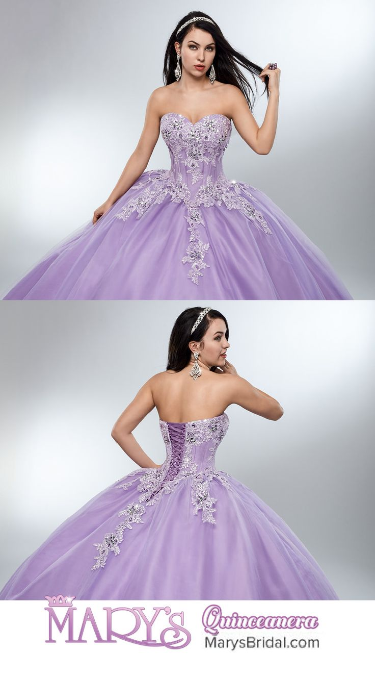 Style 4691: Strapless tulle quinceanera ball gown with sweetheart neck line, basque waist line, re-embroidery applique, lace-up back, and matching bolero.