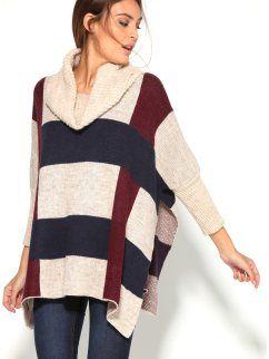 Camisola poncho quadrado de mulher com gola virada e rachas laterais