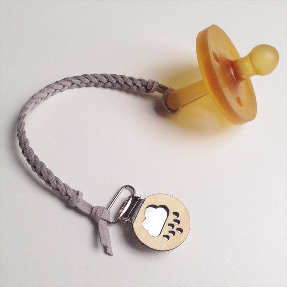 Ash Grey Dummy Clip with Bamboo Button  by OurLittleHelpers