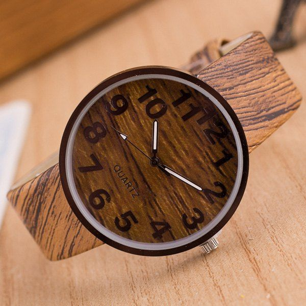Faux Leather Wood Grain Number Watch #>=#>=#>=#>=#> Click on the pin to check out discount price, color, size, shipping, etc. Save and like it!