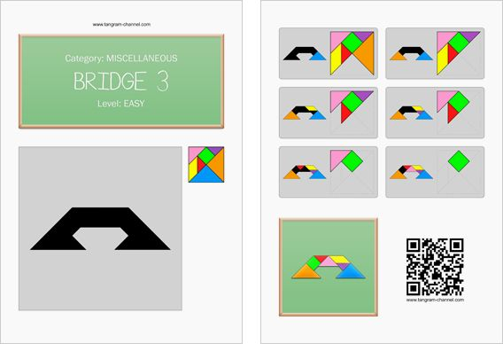 Tangram worksheet 243 : Bridge 3 - This worksheet is available for free download at http://www.tangram-channel.com