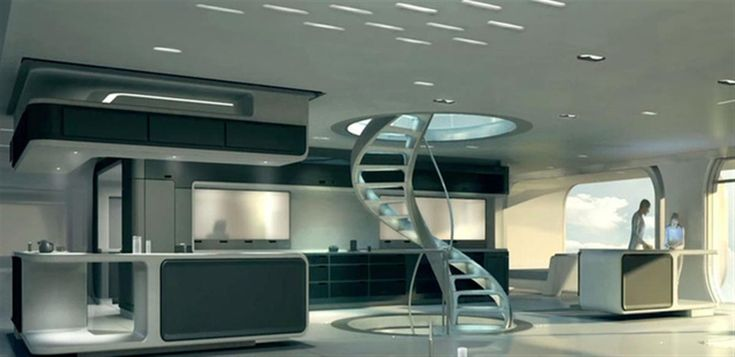 Futuristic house design on oblivion futuristic house interior with spiral staircase and kitchen - Futuristic home interior ...