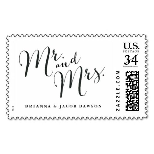 Mr. and Mrs. wedding postage stamp