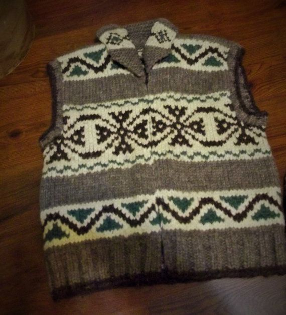 Vintage Wool Vest 'White Buffalo' Siwash Cowichan by Mostable