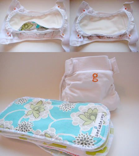 "sew your own gdiaper cloth inserts!  just made my first one! couldn't get this pdf to download for free, so i made a pattern from a gdiaper flushable liner. i used the thick part of a chinese prefold diaper for the ""filler"", a layer of fleece on the bottom and a layer of flannel on the top."