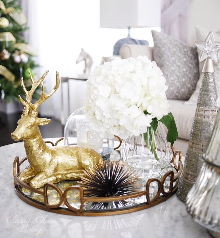 Christmas tray styling. Coffee table. Living room. Family room. Gold reindeer. Xmas decor.
