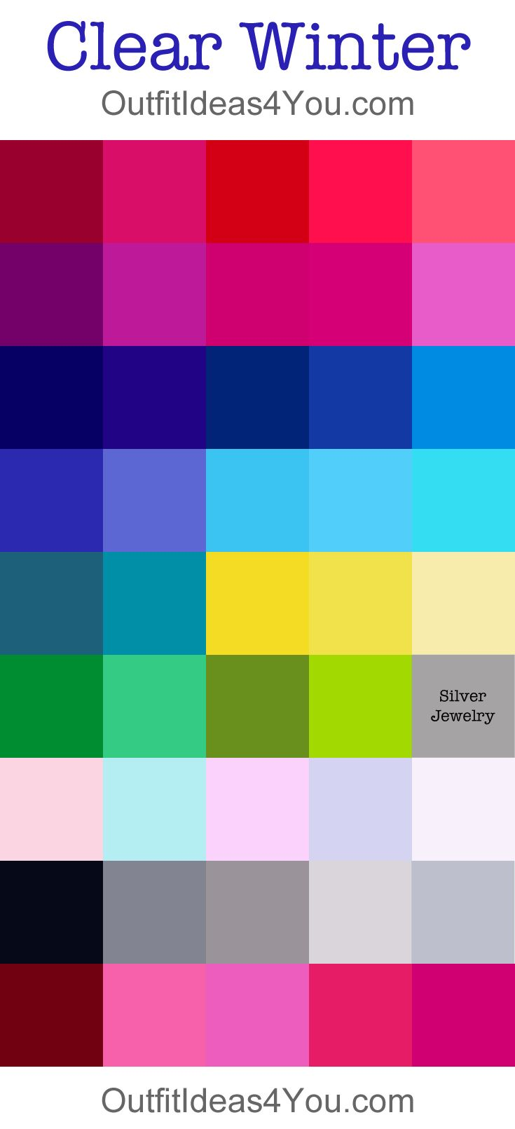 Clear/Bright Winter Color Palette. In Smart Colour Analysis System  are 2 groups - Clear Winter with cool tints and Bright Winter with very saturated, more intensive tints and pure hues. Bright Winter is more saturated and bright.