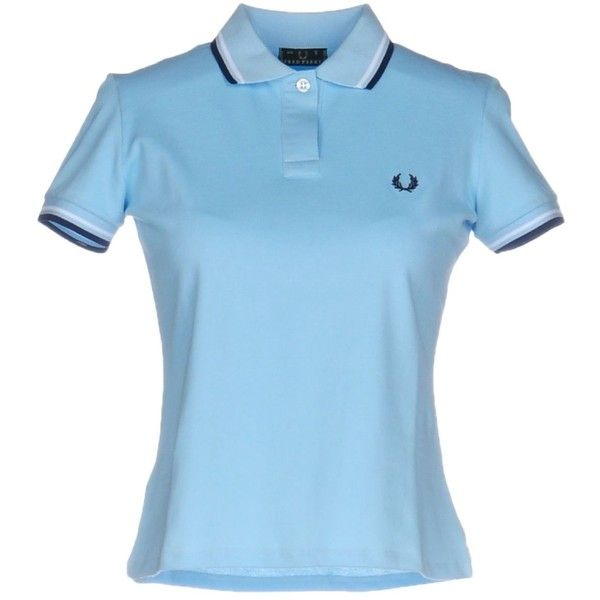 Fred Perry Polo Shirt (4.300 RUB) ❤ liked on Polyvore featuring tops, sky blue, polo shirts, fred perry, short sleeve polo shirts, blue short sleeve top and logo top