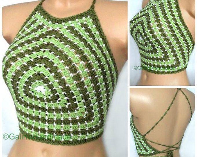 Summer Crochet Top Halter Top Tank Top Crochet Bikini Top BacklessTop Dance Top Festive Top Green Cotton