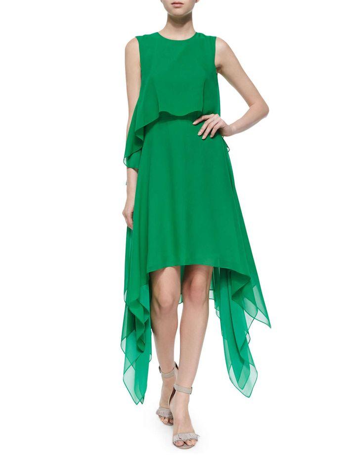 "BCBGMAXAZRIA  Marilee Tiered Silk Dress, Light Kelly Green BCBGMAXAZRIA ""Marilee"" tiered dress in silk. Jewel neckline; keyhole back. Wide shoulder straps. Arched hem at relaxed bodice. A-line skirt; draped sides. Dramatic sharkbite hem."