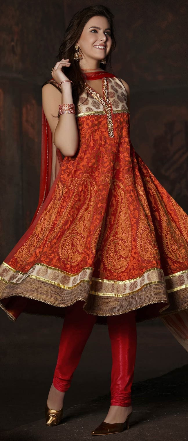#Red and #Orange #Georgette Readymade #Churidar Kameez