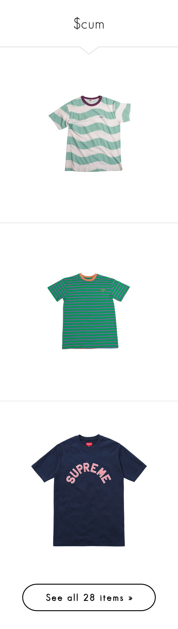 """""""$cum"""" by guaposhorde ❤ liked on Polyvore featuring tops, t-shirts, stripe top, mint green top, mint green t shirt, white striped t shirt, striped tee, shirts, t shirts and green shirt"""