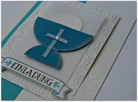 Kommunion Einladung Aufstellkarte Außergewöhnlich Kelch Kreuz Blautöne