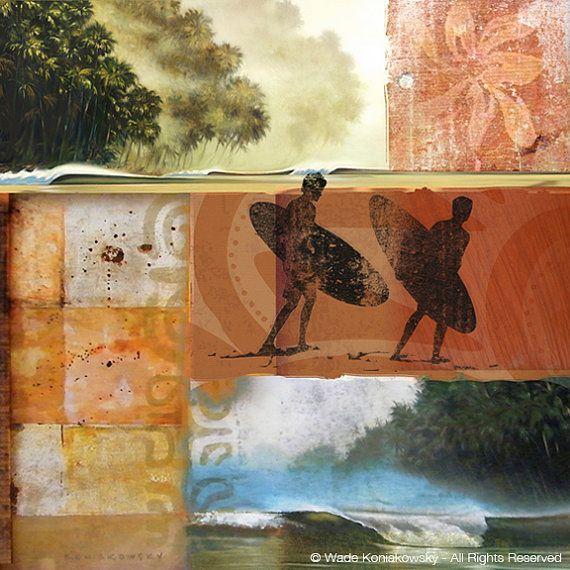 Surf-Journal, Inselleben, Surfer Kunst, Palm-Baum-Art, Hawaii-Art, Collage Print, Ozean Nebel Kunst, tropische Landschaft, Orange Kunstwerk, Strand