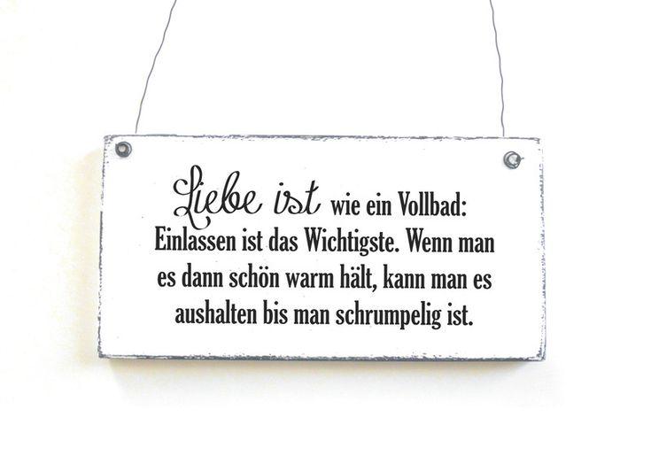 Dekoschild LIEBESVOLLBAD Türschild Vintage Shabby von DÖRPKIND auf www.doerpkind.de
