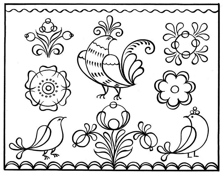 Русский орнамент картинки птицы черно-белые, красивой девушки