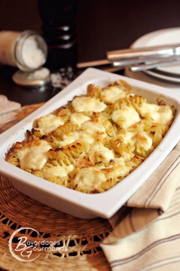 Une soirée gratinée ! Gratin de pâtes, poireau et saumon | Bavardages Gourmands