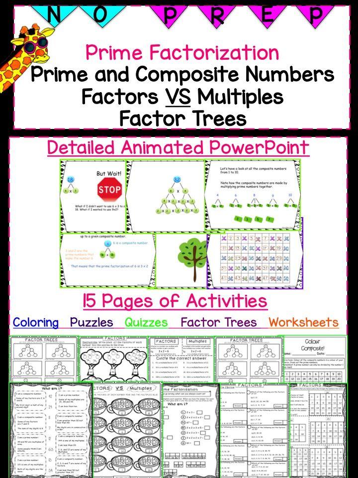 Prime Factorization Prime And Composite Numbers Factors And Multiples Factor Trees Prime And Composite Numbers Composite Numbers Prime And Composite Prime and composite worksheets