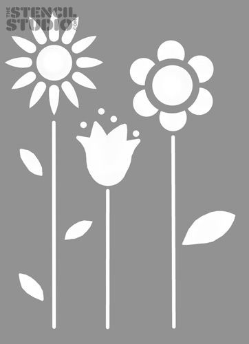 Flower Stencils | ... decorating from The Stencil Studio. Funky Flowers reusable stencil