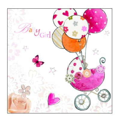 Newborn 'Baby Girl' greetings congratulations card ...