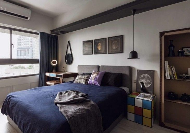 Creative Bedroom Design Ideas With Concrete Walls Also Grey Platform Bed And Rubik Cube Bed Side Table And Vintage Cabinet - pictures, photos, images