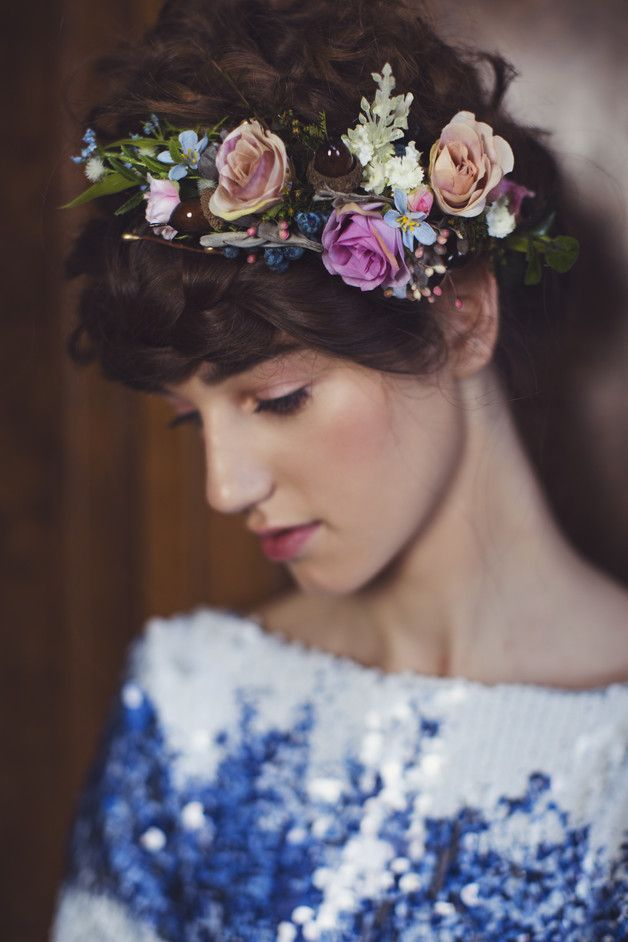 Amazing gift for best friend. Hair Flowers – Flower head wreath,floral head wreath,flower crown – a unique product by magaela via en.DaWanda.com