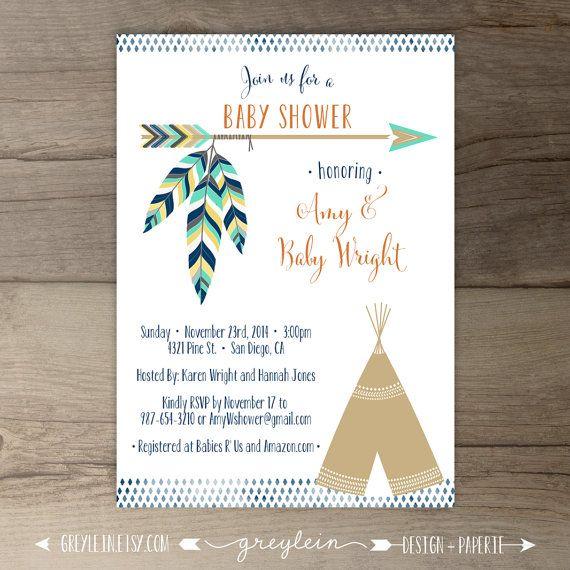 Tribal Baby Shower Invitations • Birthday • arrows feathers tribal native teepee • DIY Printable • be brave birthday • bows and arrows • custom baby shower • hippie birthday • invites • by greylein