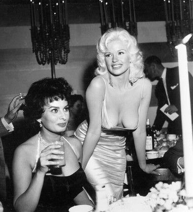 OMG- That dress she's almost wearing!!! Story Behind Infamous Sophia Loren Jayne Mansfield Photo | Vanity Fair