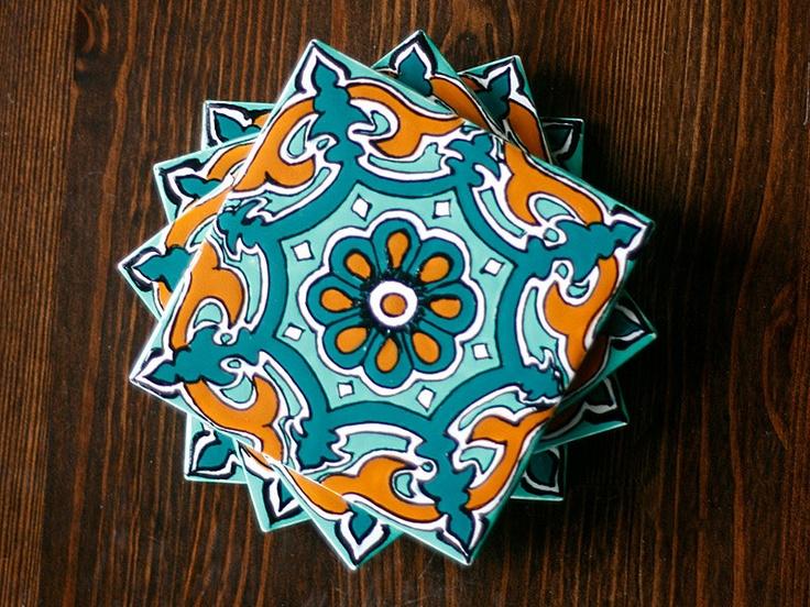"Teal & Burnt Orange Talavera Style Coasters/Talavera Style Tiles -- ""Royal Star"" -- Set of Four. $29.95, via Etsy."