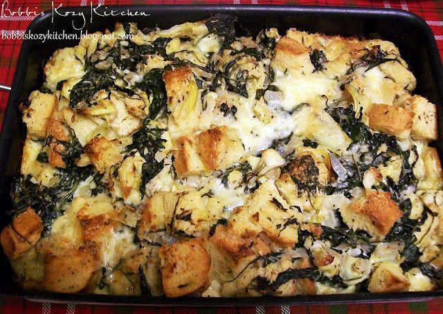 Bobbi's Kozy Kitchen: Savory Bread Pudding with Spinach, Artichoke, and Brie