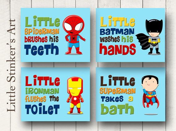 Superhero Wall Art Bathroom Decor Boy S Wall By Littlestinkersart 52 00
