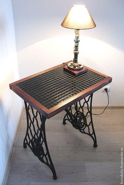 """Купить Мозаичный столик """"Singer"""". - черный, мозаика, стекло, мода, дерево, массив, зингер, singer"""