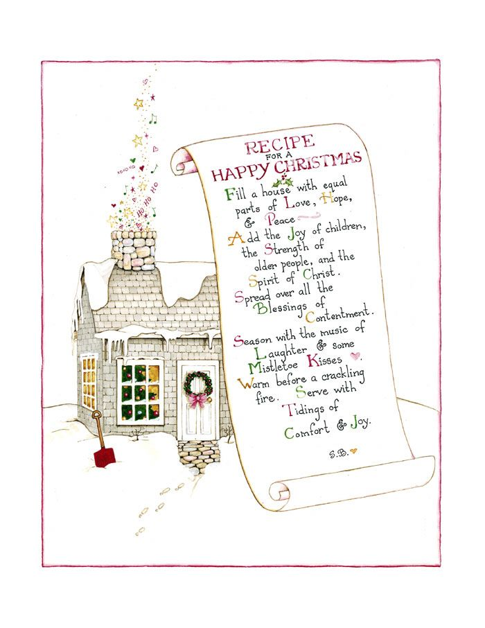 Recipe for a happy Christmas. (Susan Branch)