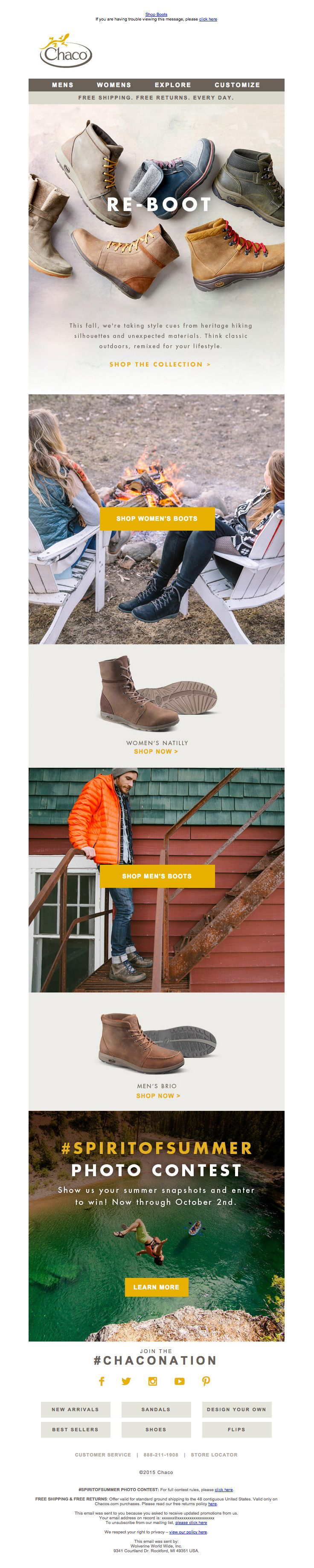 @chaco sent this email with the subject line: New Boots for Fall - I think Chaco has done a nice job of creating clean blocks of photos with CTAs that drive sales. Well done here! Read about this email and find more product sale emails at ReallyGoodEmails.com #ecommerce #productsale