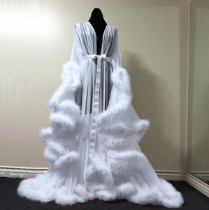 "Image of White ""Cassandra"" Extravagant Dressing Gown"