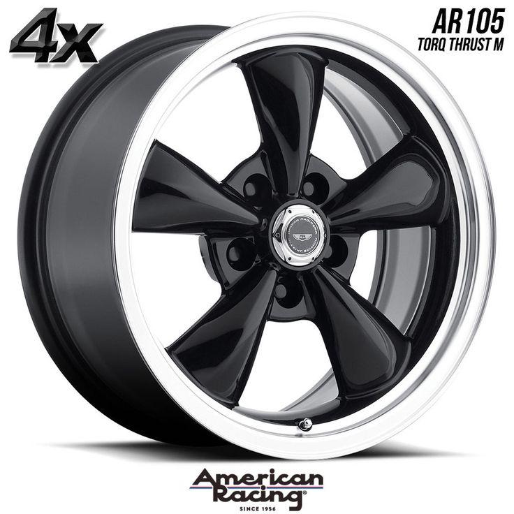 "4 American Racing 105 T.Thrust 17""x8"" 5x120.65 Black OFST:0mm 17 Inch Rims 17X8 Wheels"