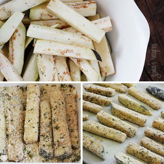Baked Eggplant Sticks....use the whole egg though as using whites actually has less of a health benefit than the whole egg.