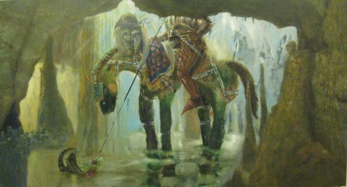 Thomas Braida, san Giorgio e compagna-2012-olio su tela-211x399 cm