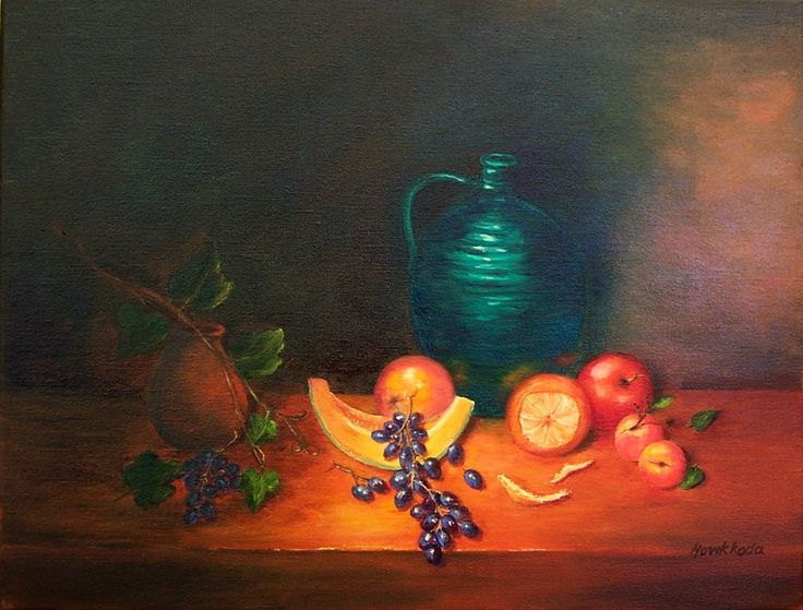 Turquoise Jug And Fruits