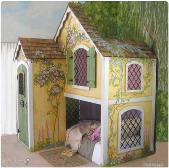 Play House Bed - Love the mural wall to bring in the effect of Snow White or TinkerBell Fairies!