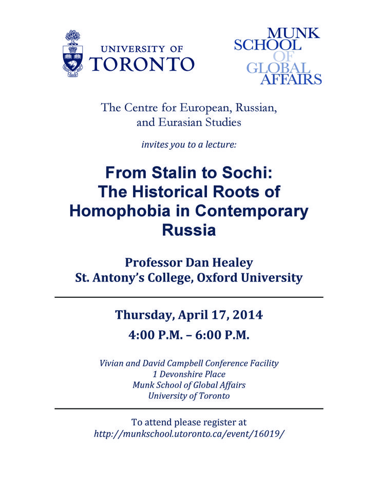 """""""From Stalin to Sochi: The Historical Roots of Homophobia in Contemporary Russia"""" 